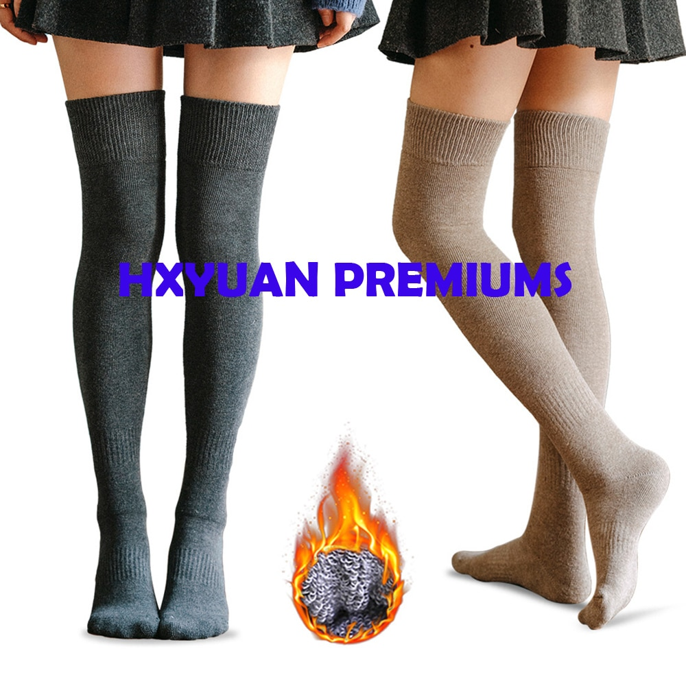 Solid Color Combed Cotton Knitted Fleece Inner Layer Socks Extra Thick Thigh High Stockings For Women And Girls