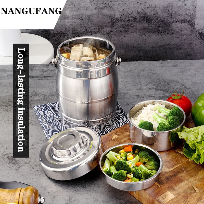 NANLINGWUREN insulation lunch box 1.4L/1.6L stainless steel Bentobox portable food container for office school camping field