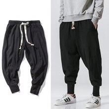 סיני סגנון הרמון מכנסיים גברים Streetwear רצים מקרית Mens מכנסיים כותנה פשתן מכנסי טרנינג באורך קרסול גברים מכנסיים M-5XL