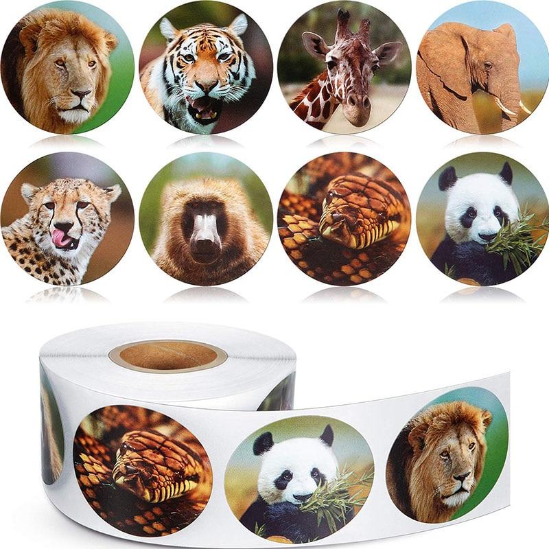 500 Pcs/roll zoo Animals cartoon Stickers for kids classic toys sticker school teacher reward sticker 8 designs pattern  lion