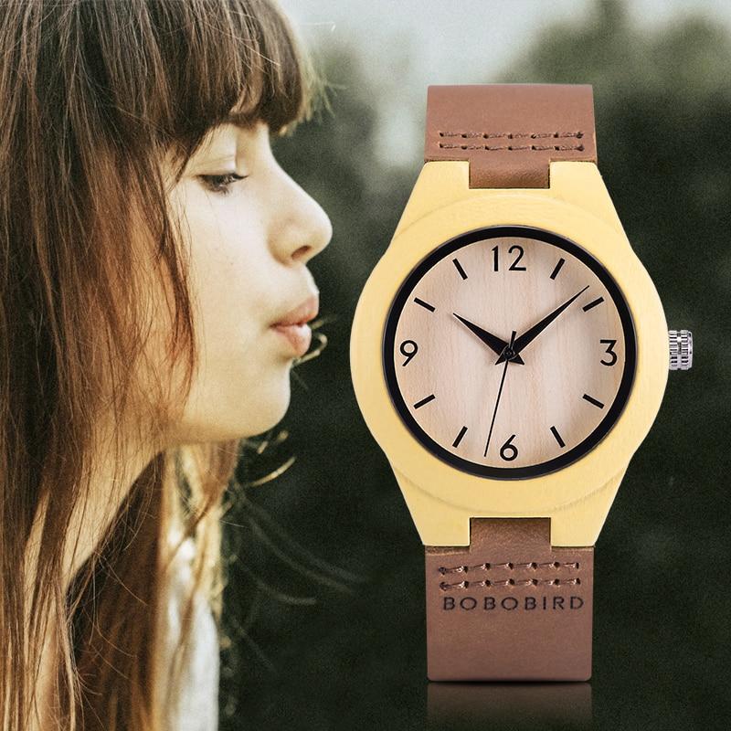 relogio feminino BOBO BIRD Wooden Women's Watch Quartz Wristwatch Leather Strap ladies Customized Gift For Girlfriends Daughter