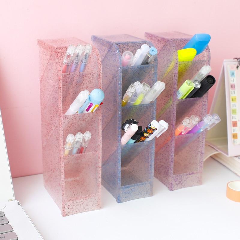 Kawaii Large Capacity Desk Pen Holder Pencil Makeup Storage Box Desktop Organizer Stand Case Office Accessories Stationery store