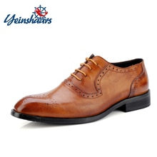 YEINSHAARS Pointed Toe Brogues British Style Oxfords Men Dress Shoes Genuine Leather Imported Shoes
