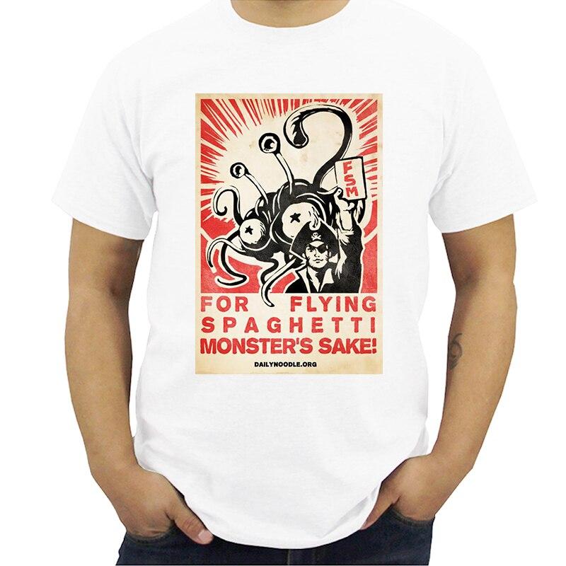Camiseta estampada de verano para hombre, camisetas de cuello redondo para hombre, camisetas divertidas de FSM Flying Spaghetti Monster CCCP, camisetas Streetwear 5X