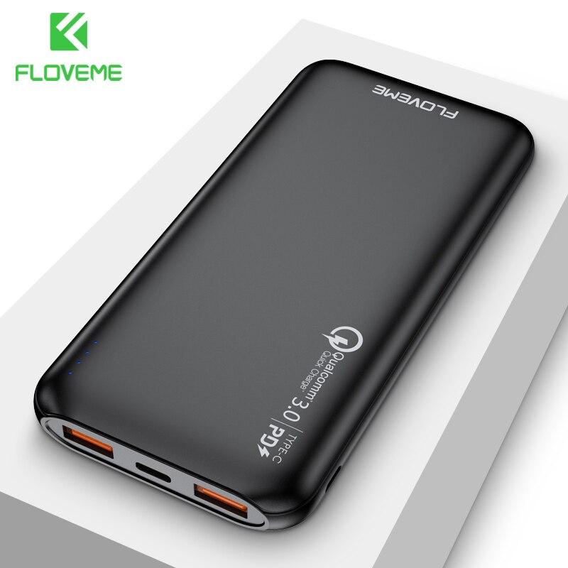 FLOVEME Quick Charger 3.0 Power Bank 10000mAh Portable Charging 3 input PowerBank USB External Battery Charger For Xiaomi Mi 9 8