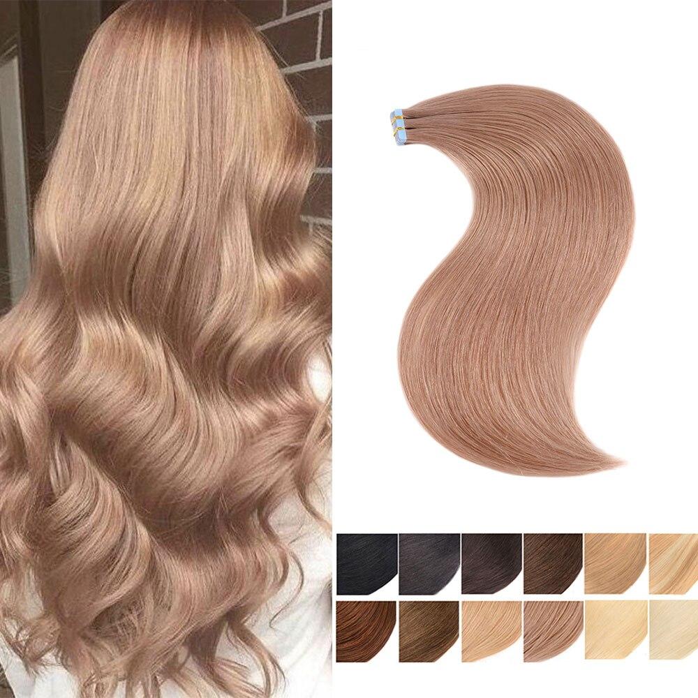 Remy em linha reta extensões de fita de cabelo humano amostras perfessional salão de beleza invisível trama da pele extensão fita de cabelo europeu ins 20 pçs