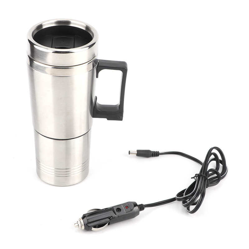 dmwd 12v 24v vehicle hot water boiling electric kettle travel truck thermal insulation heating cup car teapot boiler bottle 1 2l Stainless Steel Electric Kettle Portable Travel Water Fast Boiling Teapot Coffee Tea Heating Cup For Car 12V 350ML+150ML