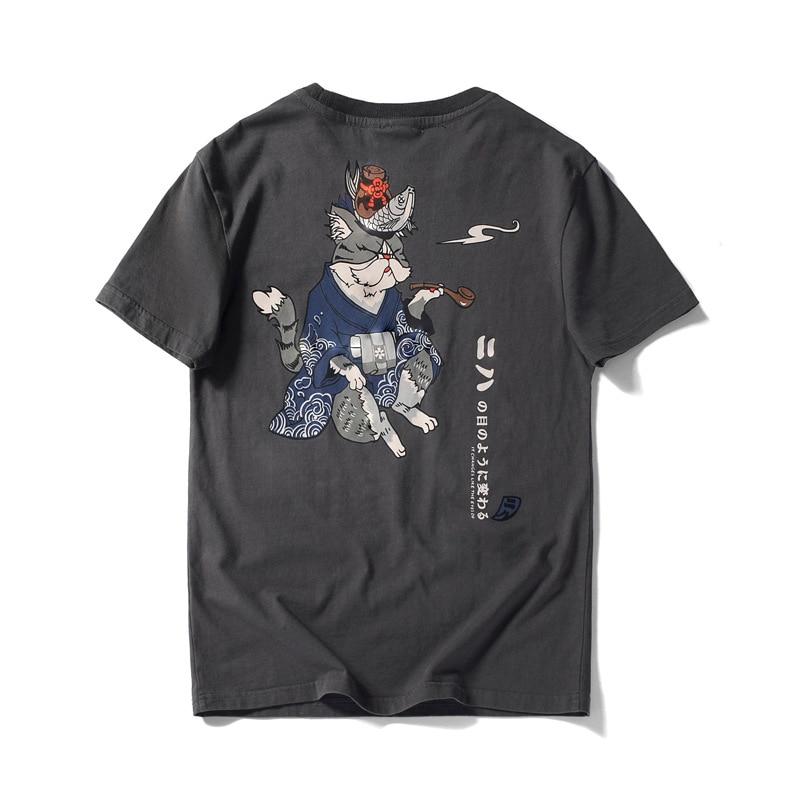 Japanese Tide Men's T Shirt Short Sleeve Harajuku Streetwear Cotton O Neck High Grade Loose Tops Kimono Pipe Cat Print Plus Size