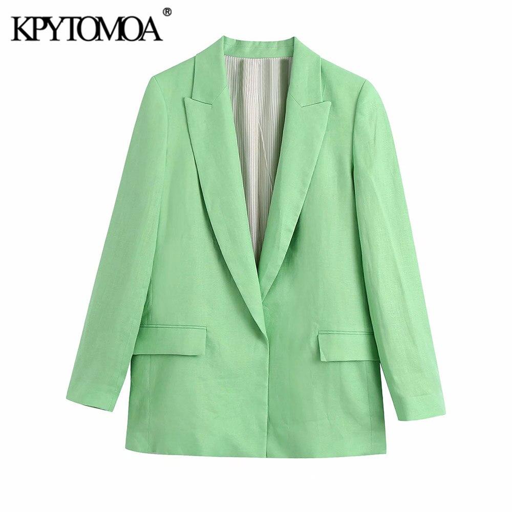 KPYTOMOA موضة 2021 للنساء مع الأصفاد المطبوعة الكتان السترة معطف خمر كم طويل رفرف جيوب الإناث ملابس خارجية أنيقة فيست