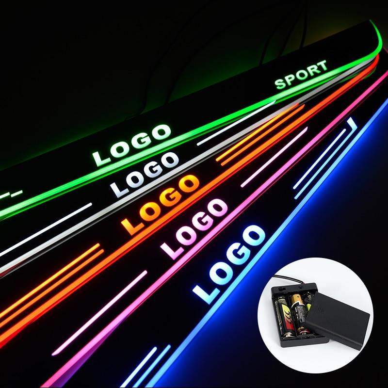 LED De Seuil De Porte Pour Renault Clio 3 III 4 IV En Streaming Lumière Plaque Acrylique Batterie Voiture Seuils De Porte Accessoires