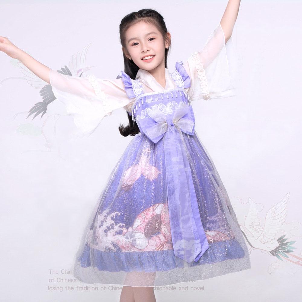 Children's  Summer And Autumn Dress Lolita Princess Chinese Style Including Shirt Headdress Jsk Strap Skirt Suit jsk lolita cute lolita costume high collar dress lovely print lolita jsk coffee