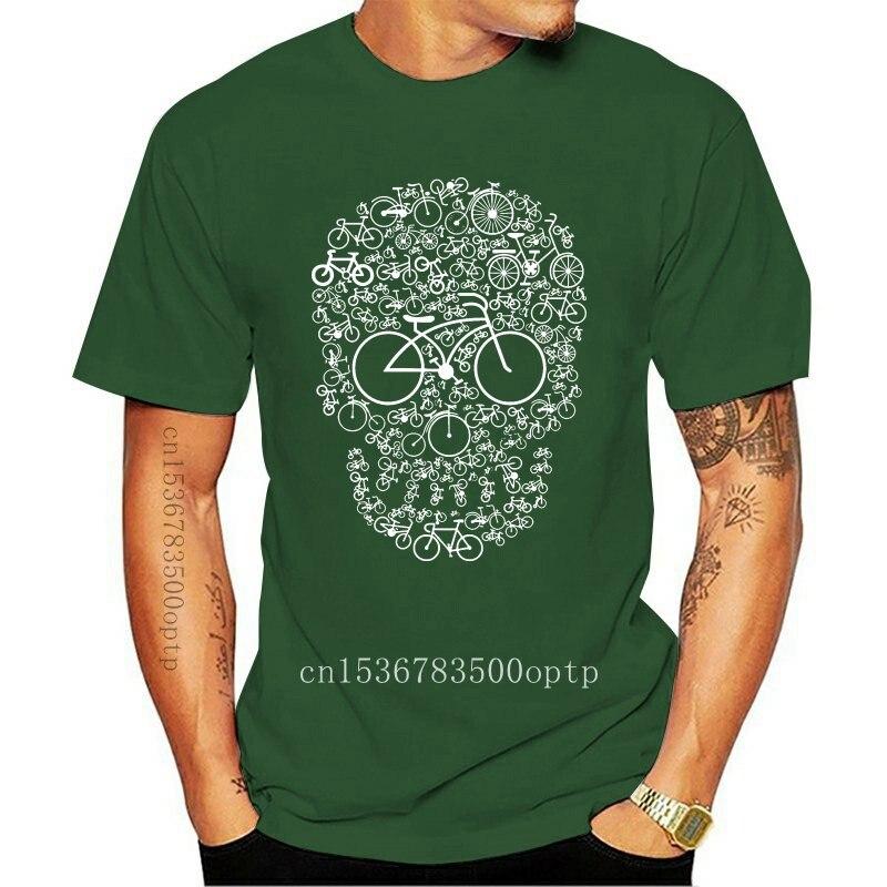 New Bicycle Skull T-Shirt Mens Bike Cycling Rider Cyclist Gift Round Neck Tee Shirt