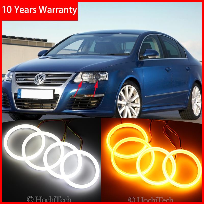 Algodón Switchback LED blanco ámbar Ojo de Ángel Halo anillos DRL intermitente luz para Volkswagen VW Passat B6 Magotan 2006-2010