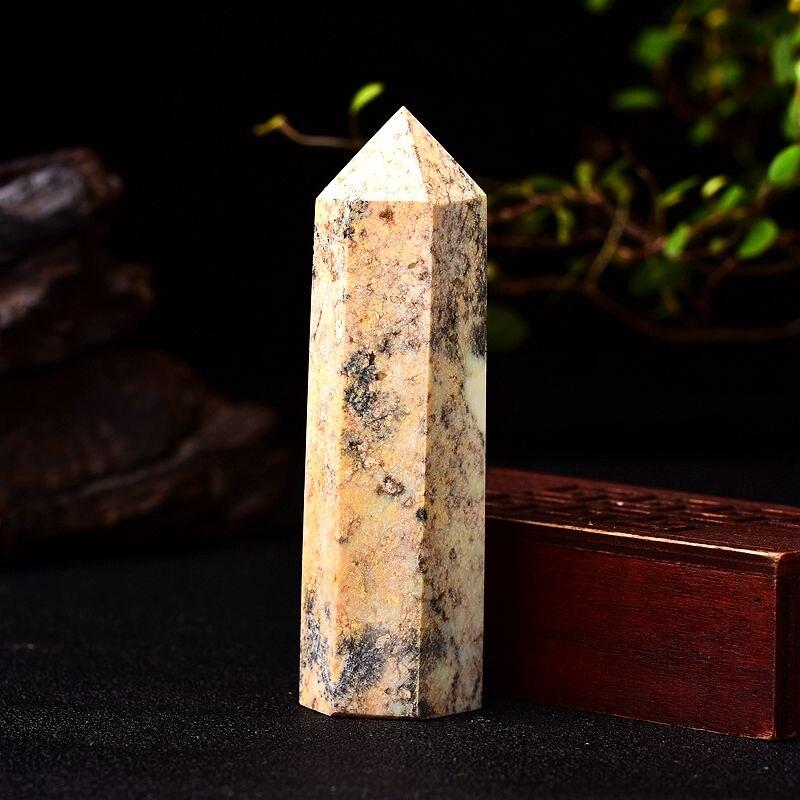 1PC cristal naturel jaune Quartz Point guérison pierre hexagonale prismes 50-80mm obélisque baguette traitement ornements pierre bricolage cadeau