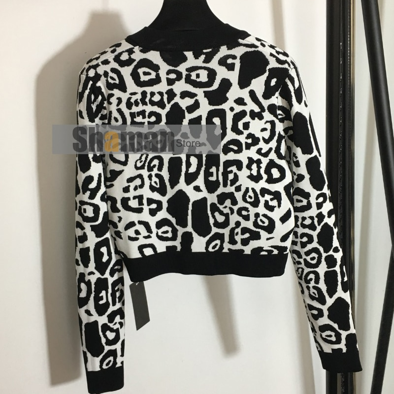 LUXURY DESIGNER high end spring 2021 women branded Sexy Leopard Print Long Sleeve Knitted cropped Cardigan crop top cardigans enlarge