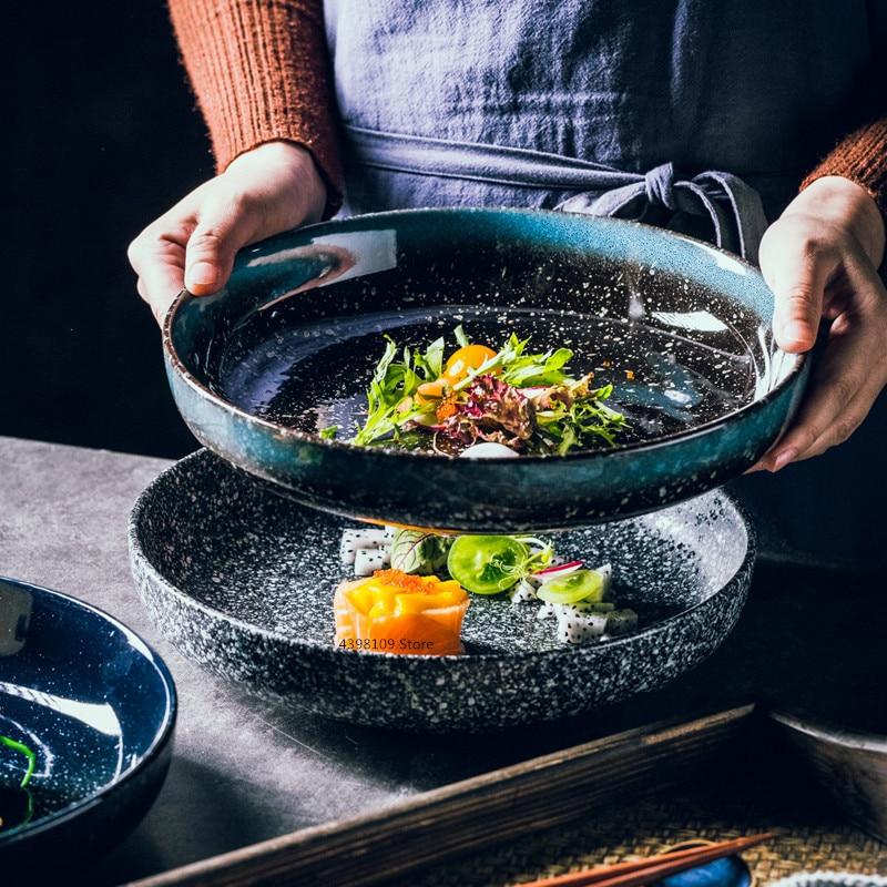 Creative Round Deep Dish Ceramic Plate Ramen Bowl Household 10 Inch Dinner Plate Japanese Tableware Set Restaurant Service Plate