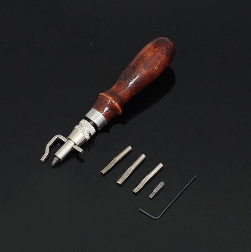 5 in 1 고 탄소강 Leathercraft Edge Press Kit 조정 가능한 스티칭 및 주름 가죽 스티칭 도구 재봉 액세서리