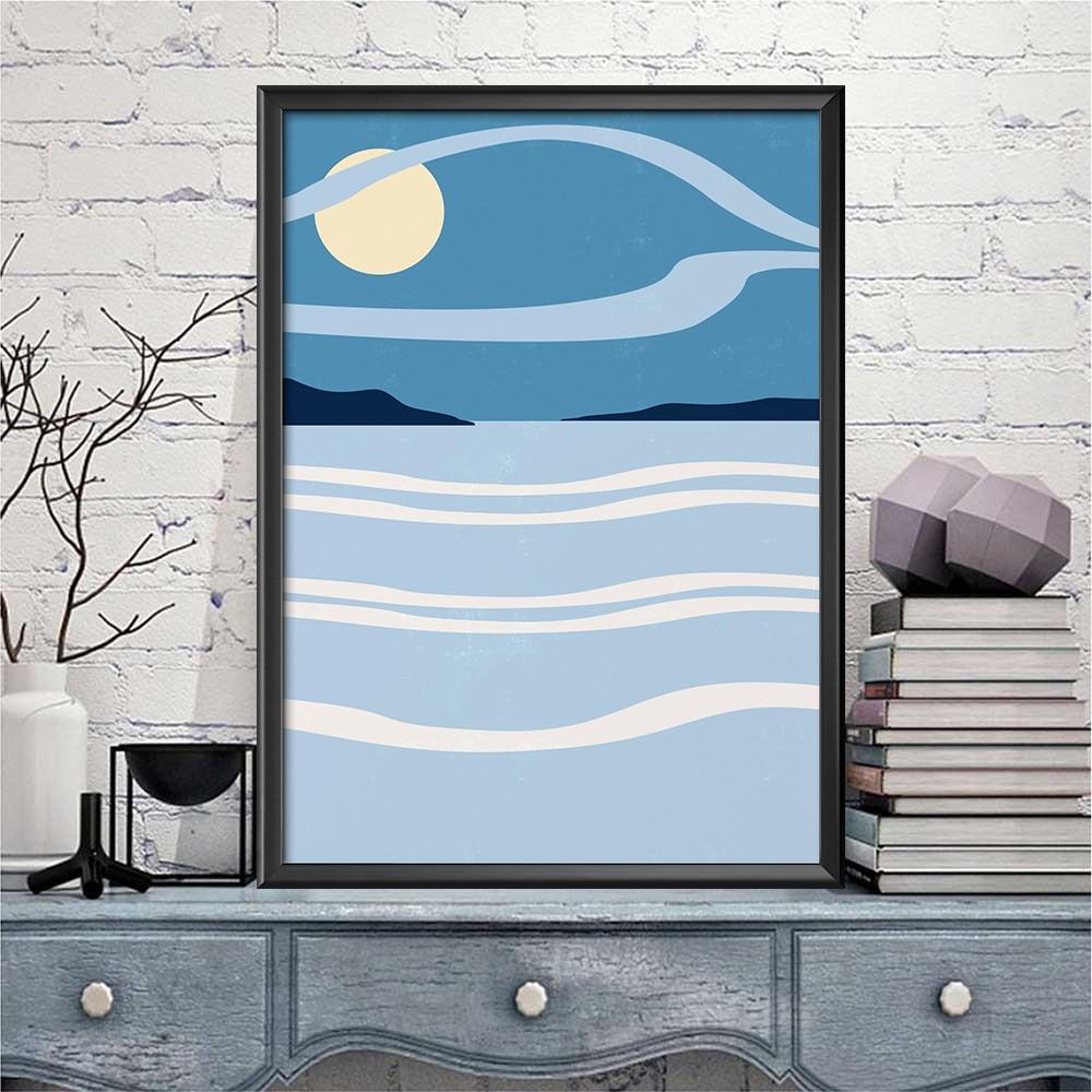 Художественный абстрактный пейзаж Moon Sea, художественные принты, трендовый плакат на холсте, картина с цитатами, мотивационные настенные кар...