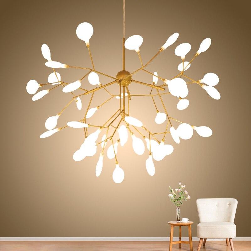 Firefly LED Chandelier Lights For Room Living Room Bedroom Lamp Lampara Gold Black Indoor Hang Lighting Fixture Lights Lustres