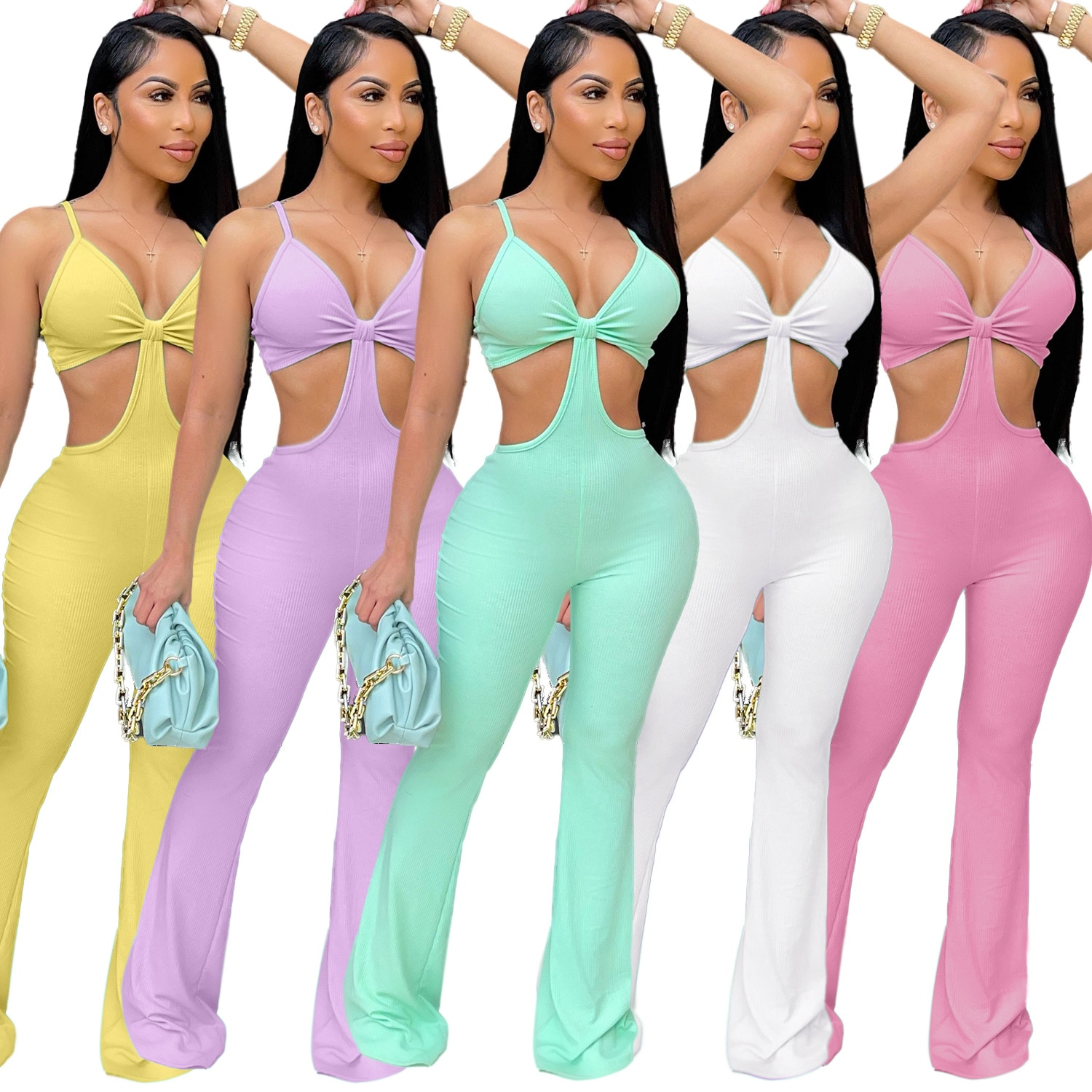 Sexy Cut Out Skinny Jumpsuits Women Rompers Summer Backless Solid Long Pants Sexy Bodysuits Party Outfits Clubwear
