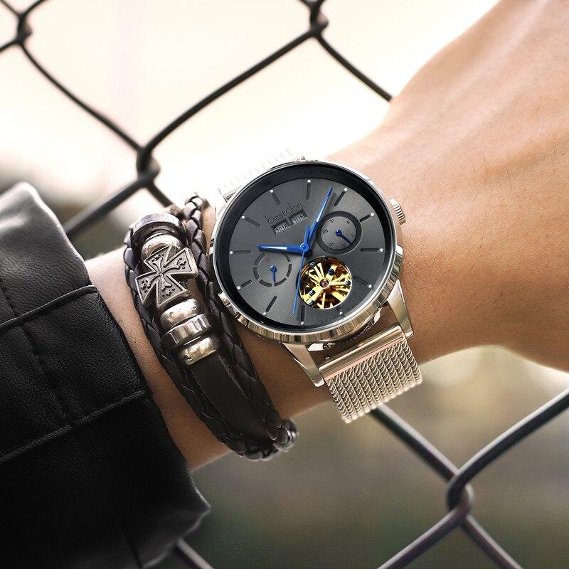 Reloj Mecánico de lujo para hombre de la marca suiza Bestdon, relojes automáticos de acero para hombre