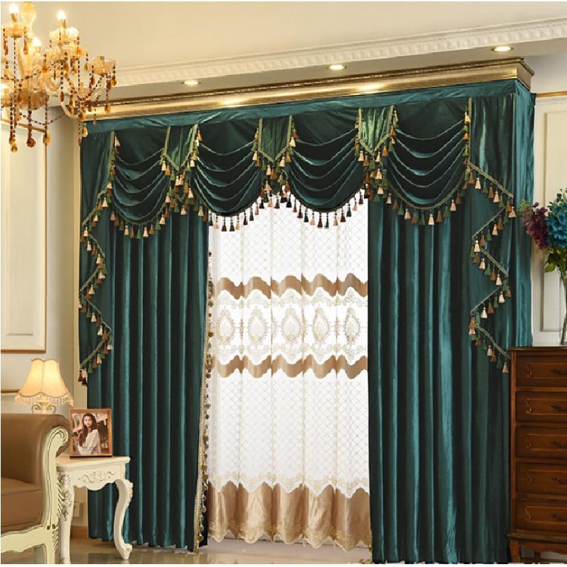 European-style Italian Velvet High-end Curtains for Living Room Bedroom Valance White Velvet Tulle Blackout Curtains Home Custom