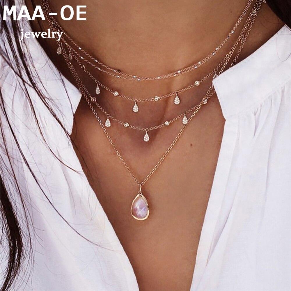 2020 collares colgantes de ópalo de cristal gota de agua de oro de moda para mujeres collar nuevo Multi nivel femenino Boho Vintage joyería regalo