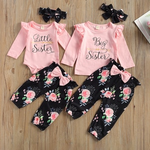 Kid 3Pcs Outfit Sister Set, Round Neck Long Sleeve Ribbed Romper/Tops Floral Long Pants Headband Spring Autumn