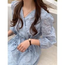 Yg brand women's 2021 summer new mid long V-neck casual temperament print dress