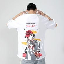Men Cotton Short Sleeve T Shirt  Printed Hip Hop Black T-shirt Male Brand Gym Tees Tops Summer New Fashion Casual Steertwear
