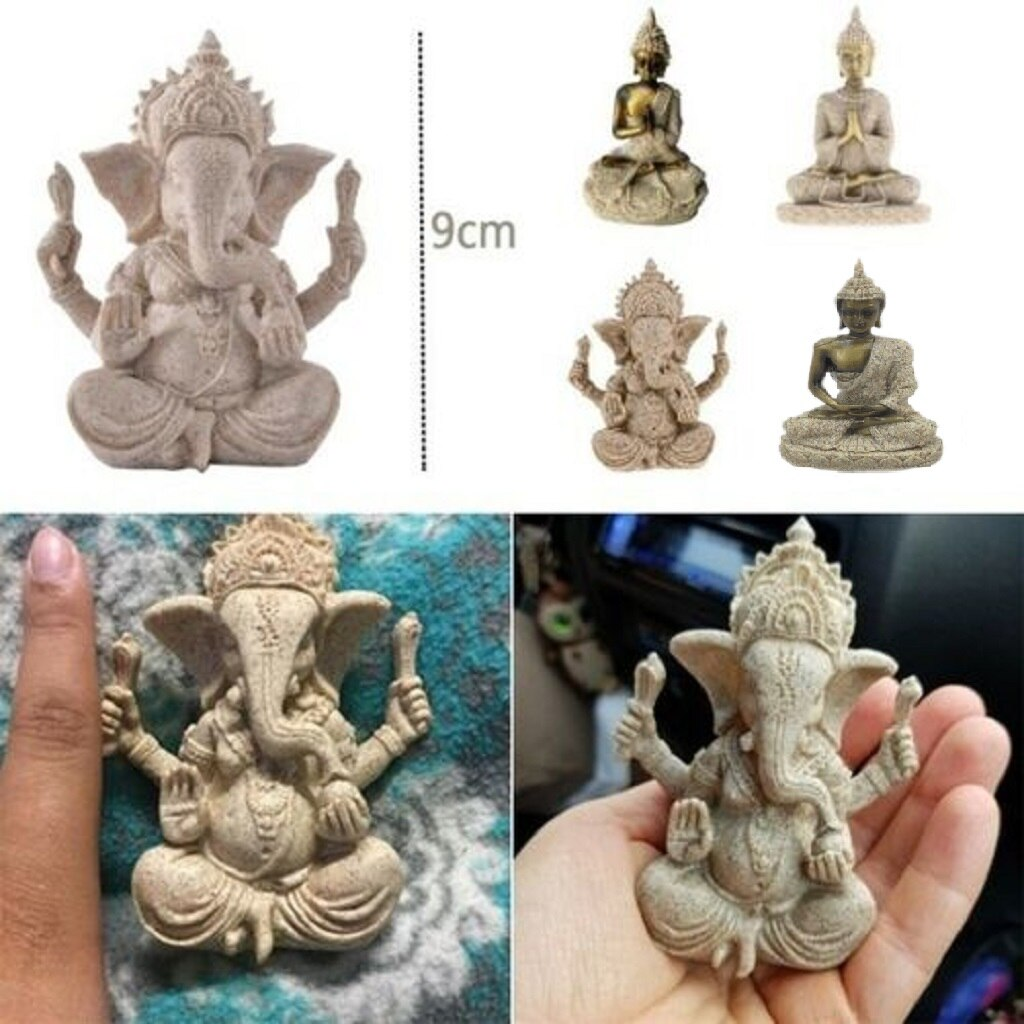 The Hue Sandstone Buddha God Joss Statue Sculpture Hand Carved Buddhism Decor  - buy with discount
