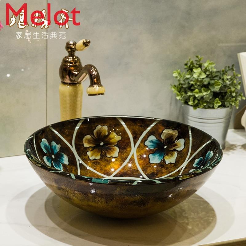 mesa bacia de vidro lavatorio lavatorio arte bacia do banheiro vidro caleidoscopio