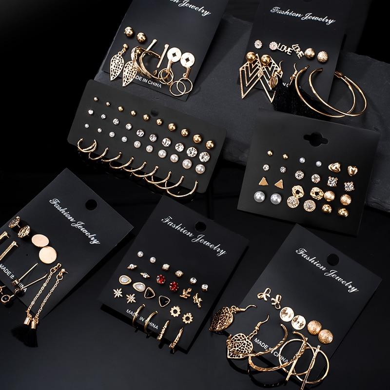 12 Pairs/Set Women's Earrings Pearl Earrings for Women Bohemian Fashion Jewelry 2020 Geometric Crystal Heart Stud Earrings New недорого