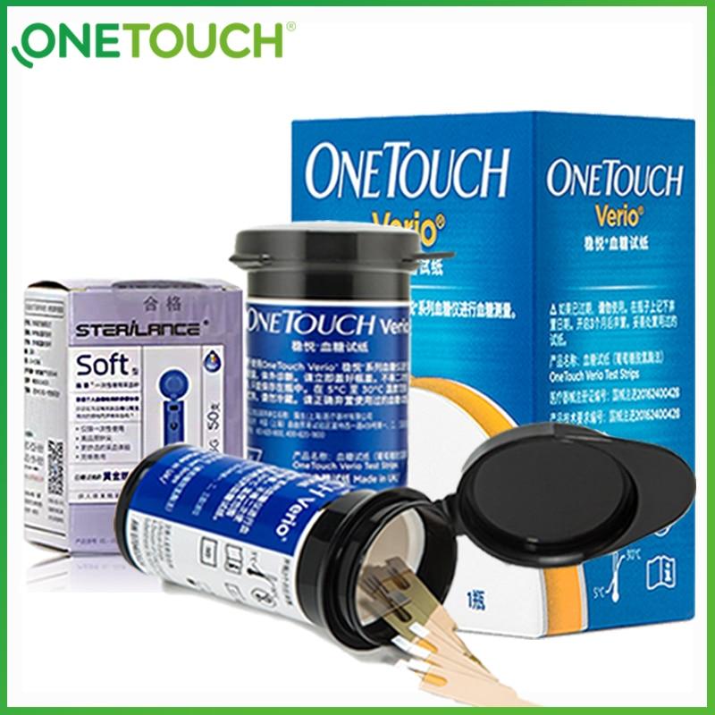 OneTouch Verio Blood Glucose Test Strips Gold Palladium Electrode Diabetes Test Paper 25/50/100pcs Blood Sugar Glucometer