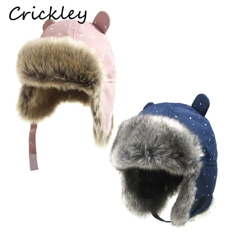 AliExpress - Kids Thickened Fur Hats Winter Windproof Keep Warm Hat for Girls Boys Cute Little Ear Ushanka Cap Children 0-4 Years Bomber Cap