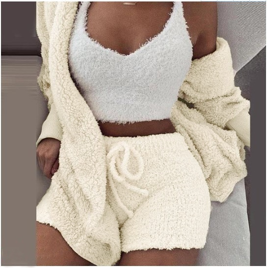 Winter Home 3 Piece Set Including Tank Women Plush Warm Casual Crop Tops Shorts Three Piece Set Women Crop Top