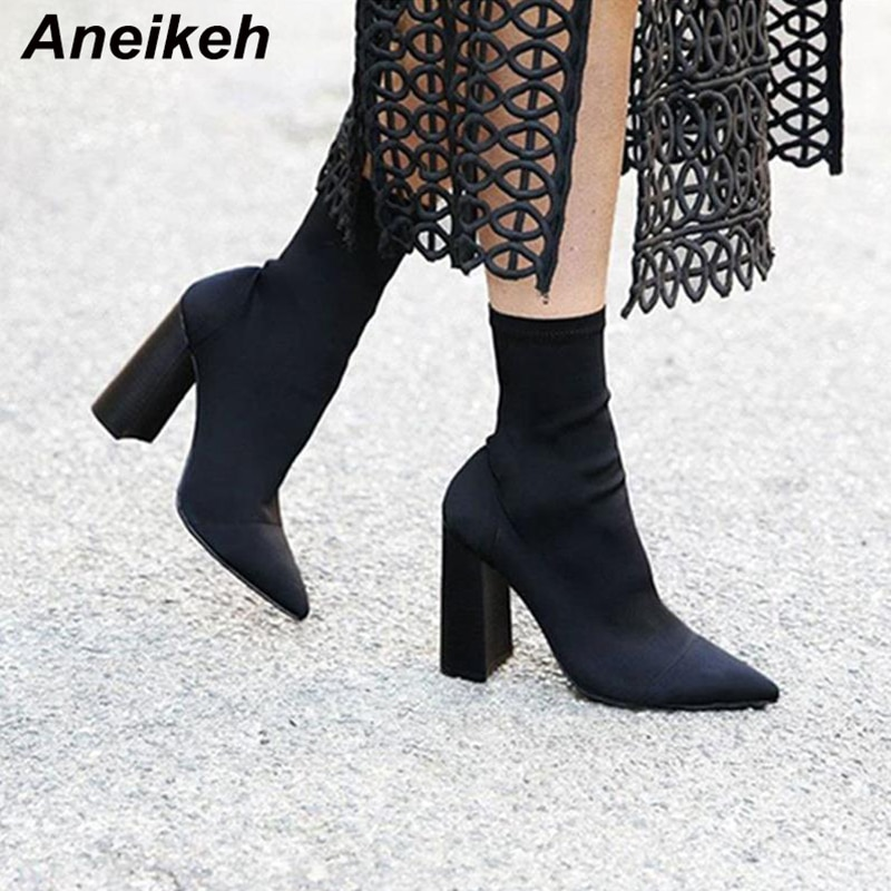 2019 new women martin boots snake print block high heeled 5 3cm short ankle boots cool rivet zipper bota feminina a195 40 Aneikeh Slim Stretch Ankle Boots for Women Pointed Toe Sock Boots Square High Heel Boots Shoes Woman Fashion Bota Feminina 41