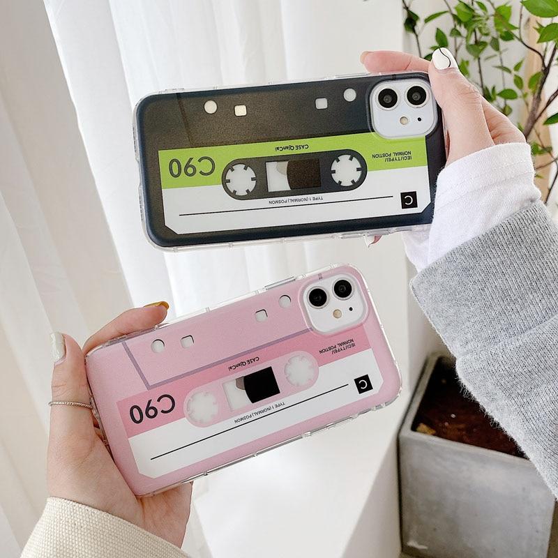 Caja del teléfono de silicona para iPhone 7 8 plus 11pro max vintage cinta magnética Casse cinta de audio para iphone x xs x max xr xs