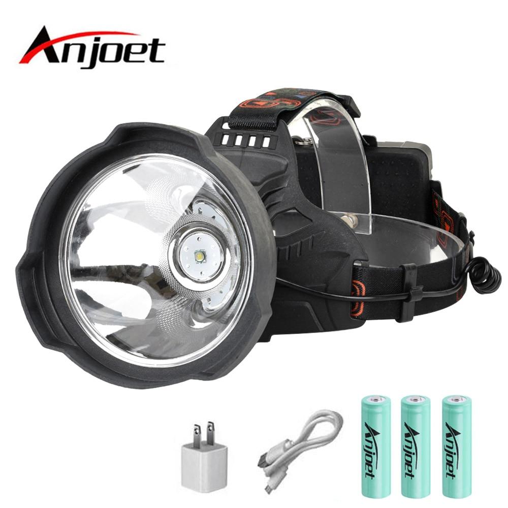 Linterna frontal Anjoet USB recargable Super brillante LED linterna luz Hardhat, lámpara de cabeza dura potente uso 18650