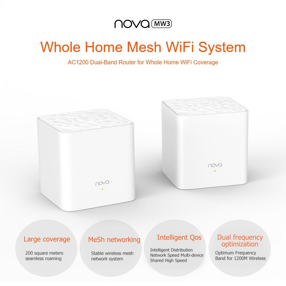 Tenda Nova MW3 Wifi Router AC1200 Dual-Band for Whole Home Wifi Coverage Mesh WiFi System Wireless Bridge APP Remote Manage