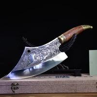 Китайский кухонный нож шеф-повара ручной работы, многофункциональный мясницкий нож, овощерезка, нож с фиксированным лезвием, измельчитель, ...