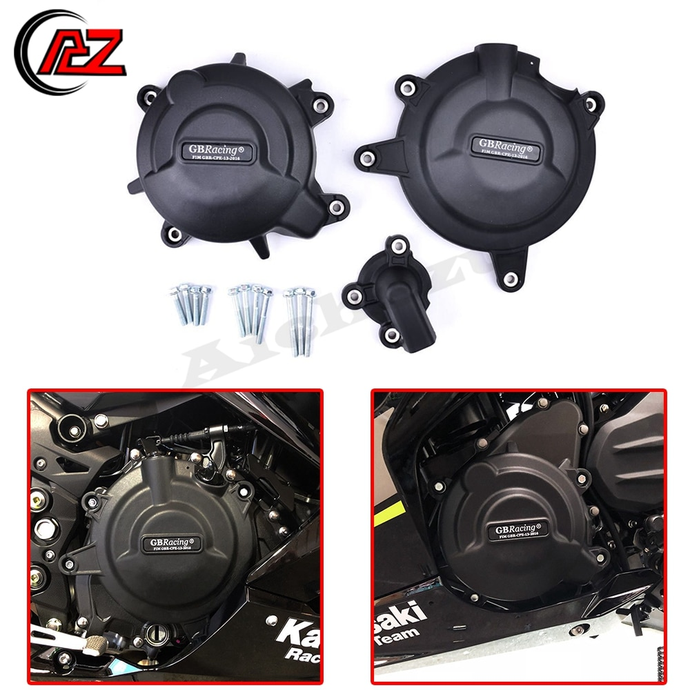 Motorcycle Engine Protection Water Pump Cover Kit Case for GB Racing for Kawasaki NINJA 400 2018-2019