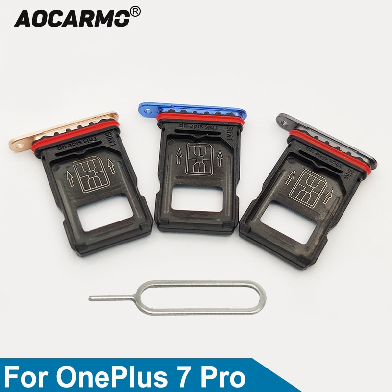 Aocarmo Nano Sim Card Holder Tray Slot For OnePlus 7 Pro Replacement Part 7Pro Single Dual