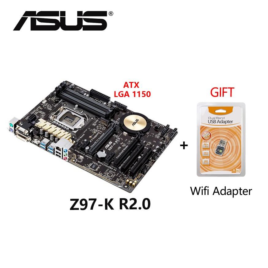 تستخدم ASUS Z97-K R2.0 ATX 1150 Z97 32GB DDR3 سطح اللوحة مجلس اللوحة مع شحن واي فاي محول