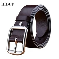 hidup mens top quality casual stainless steel buckles metal genuine belt solid cowskin leather belts jeans accessories nwj255