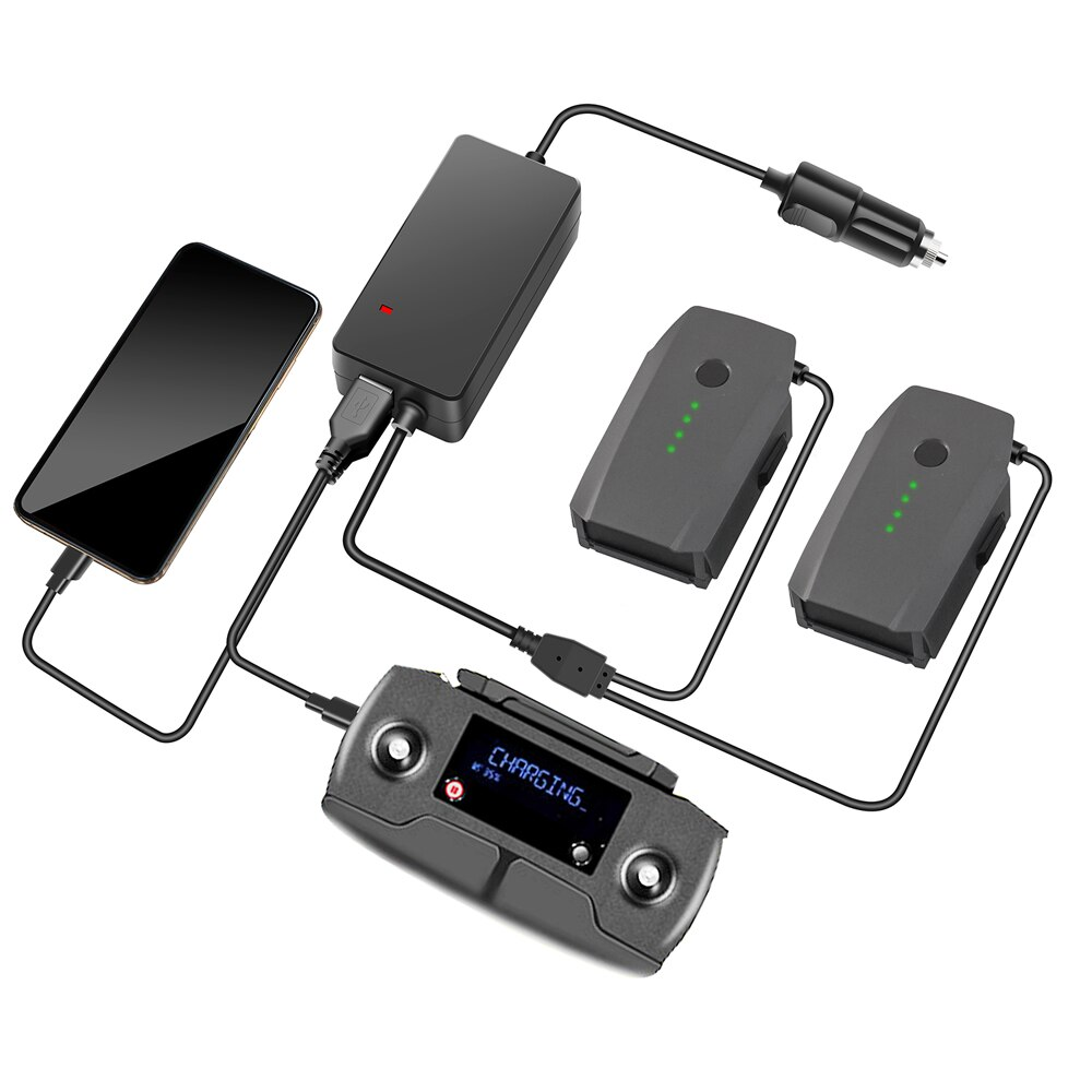 Batterie Tragbare Smart Reise Fahrzeug Ladegerät Dual Ausgang Lade 2 In 1 Auto Ladegerät für DJI Mavic Pro Platin Kamera drone