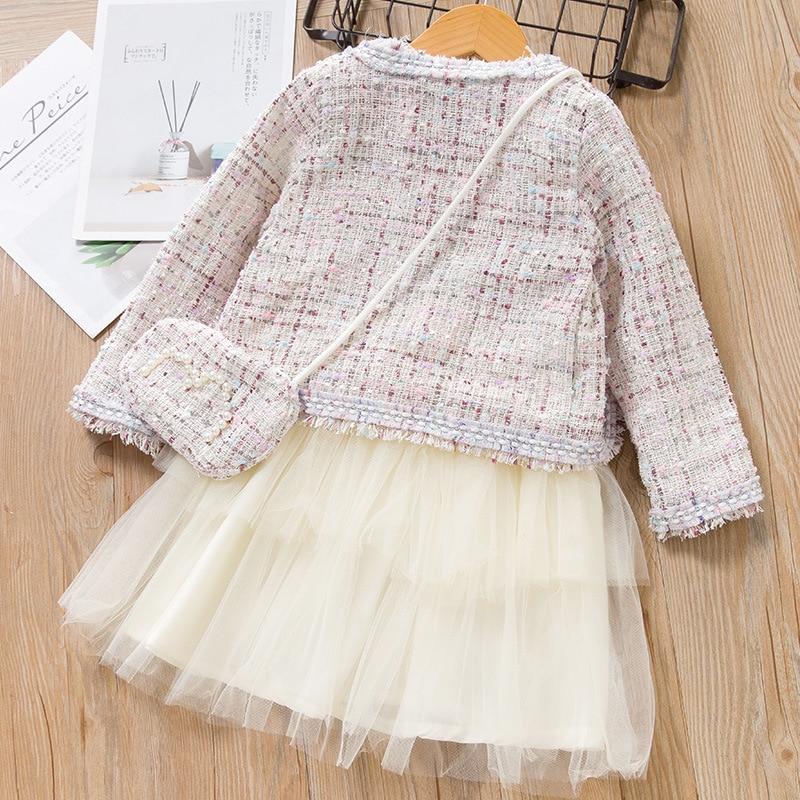 New Girl Clothing Sets Long Sleeve Frill O-neck Knapsack Princess Dress Spring Autumn Fashion Children Clothes Three Piece Set