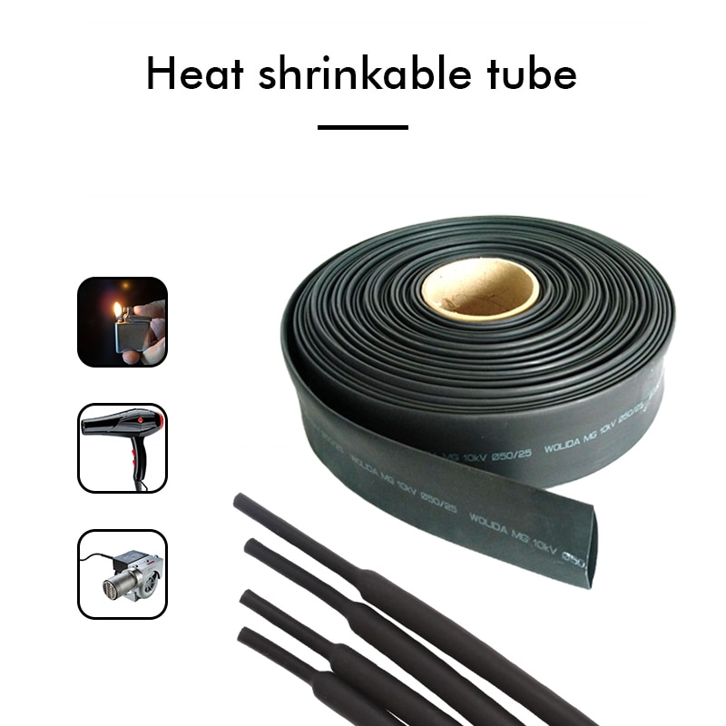 1M/5M/100M Black Heat Shrink Tube Wire Cable sleeve Assorted Heat Shrink Tubing Insulated Sleeving w