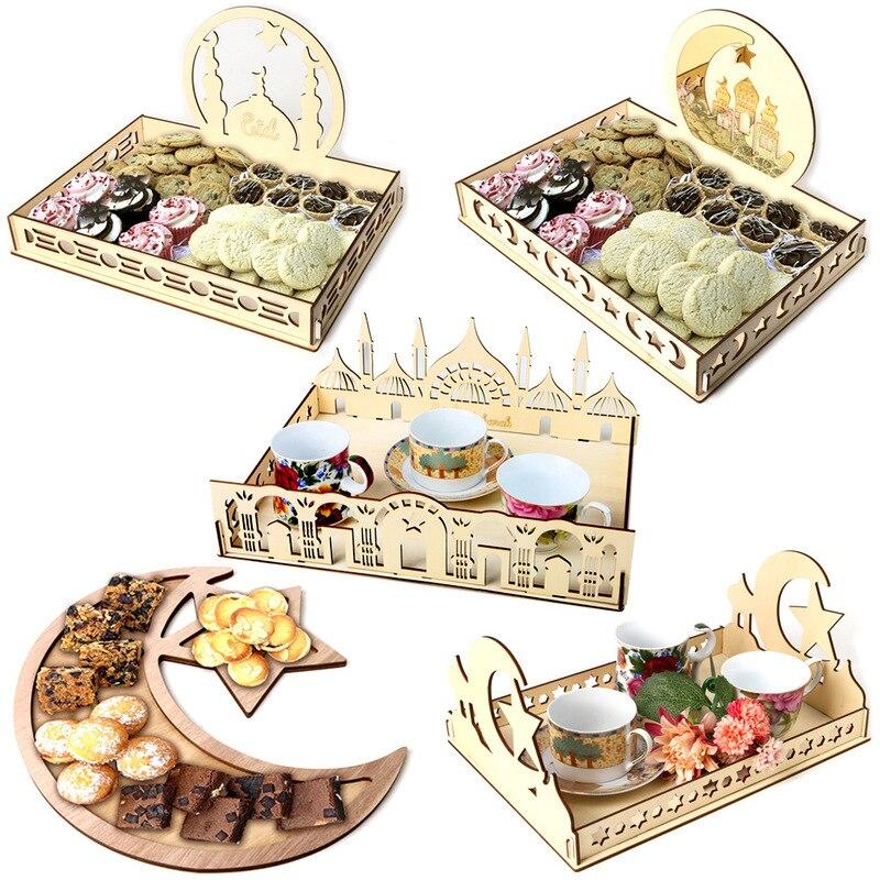 Decoraciones de mesa de madera, decoración de Bandeja de postres, manualidades, accesorios hechos a mano, Eid Mubarak, suministros para fiestas, eventos y eventos
