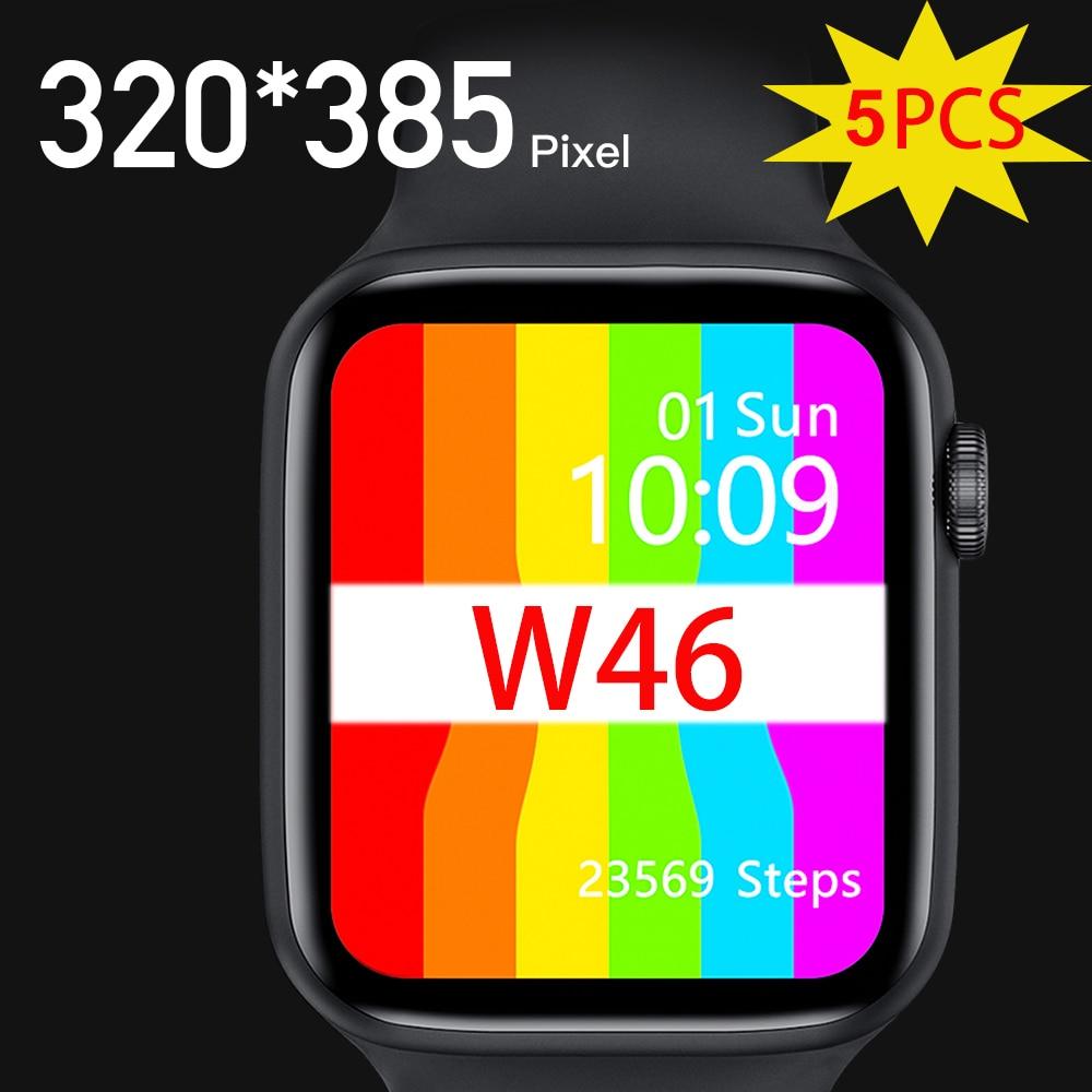 Get 5PCS IWO W46 Smart Watch IP68 Waterproof Bluetooth Wireless Charging ECG Heart Rate Sport Men Women Smartwatch